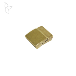 Rectangular old gold color clasp flat leather 15 mm
