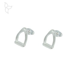 Silver plated stirrup earring.