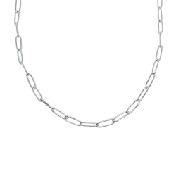 Rounded rectangular thin link chain