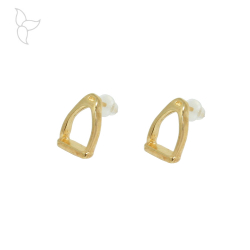Gold color stirrup earring.