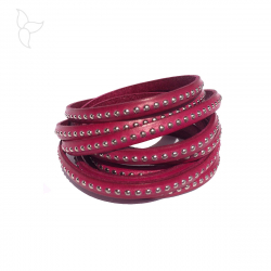 Pink flat leather with balls 6mm