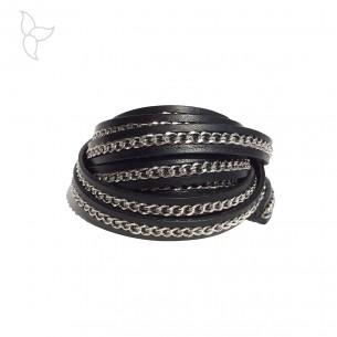 Lederband schwarz mit silberfarben kette 10mm