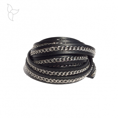 Black leather and silvery chains 10mm