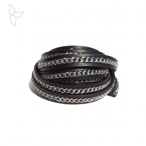 Cuero negro con cadena plateada 10mm