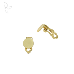 Clip earring with round plate 10 mm for gluing