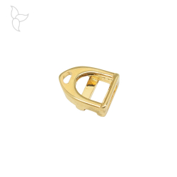 Stirrup slider for leather 10mm gold color.