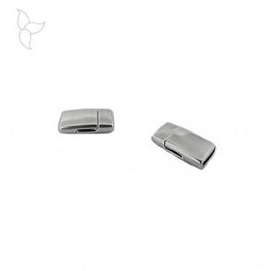 Fermoir rectangulaire lisse cuir plat 10mm