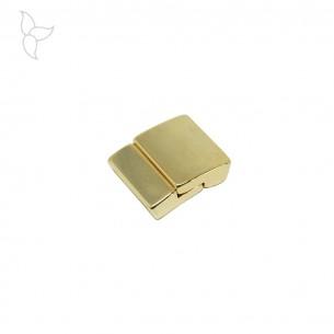 Fermoir rectangle incurvé cuir plat 15 mm couleur or