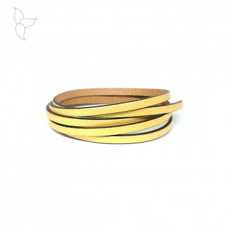 Gold color flat leather 5mm