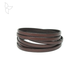 Dark brown flat leather 5mm
