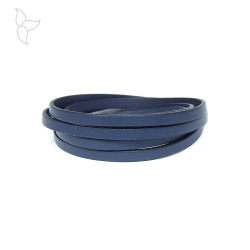 Navy blue flat leather 5mm