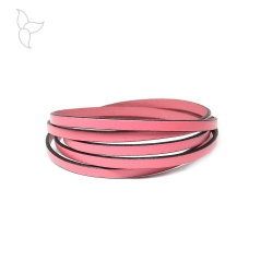 Pink flat leather 5mm