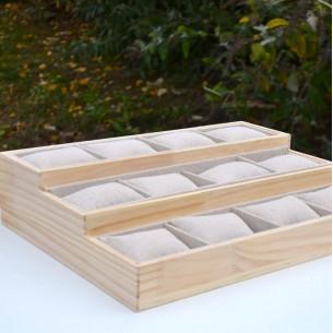 Expositor de 12 cojines de madera y lino para pulseras