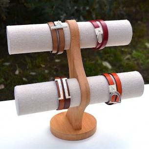 Expositor de pulseras de 2 niveles de bambú y lino