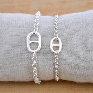 Bracelet maille marine sur chaîne