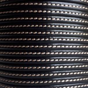 Cuero plano costura negro 5mm