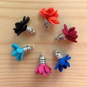Pompon fleur en tissus avec embout