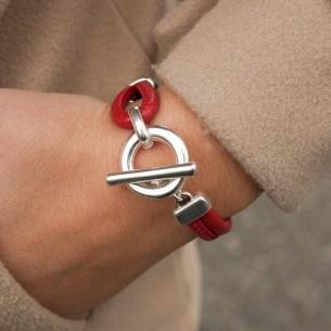 Bracelet cuir poupi avec fermoir toggle