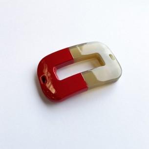 Pieza ovalada curvada para pulsera de cuerno de búfalo y laca roja.