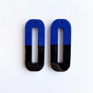 Pendentif grand rectangle arrondi en corne de buffle, laquée bleu et noir .