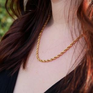 """Twist"" necklace in golden steel"