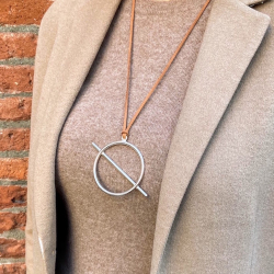 Big circle with bar solded pendant silver plated