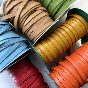 Fuschia weiches flaches Leder mit Stichen 10mm