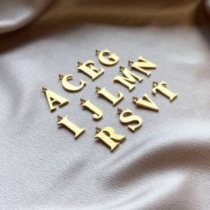 Pendentif lettre ajourée acier doré