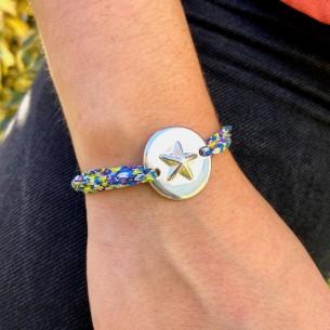 Connector medalla con estrella chapada en plata 10 micras.