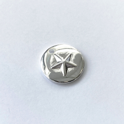 Silver plated medal 10 microns 16 mm embossed star by 10 pieces