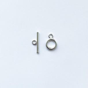 Fermoir T plaqué argent 8 mm