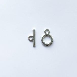 Fermoir T plaqué argent 10 mm