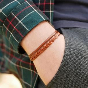 Bracelet cuir plat 4 mm et cuir tressé