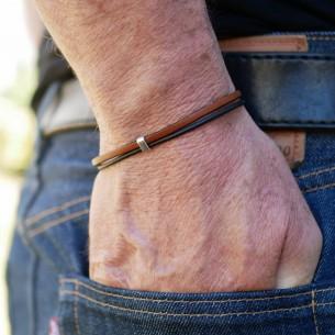 Bracelet cuir fin 3 mm et cordon cuir