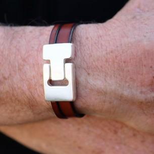 Bracelet épais fermoir géométrique