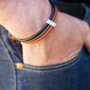 Bracelet trois rangs cuir rond