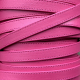 Fuschia supple flat leather with stitches 10mm