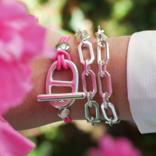 Bracelet cuir maille marine