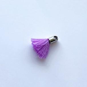 Borlas en tejido violeta con terminal y anilla