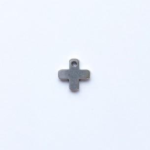 Colgante cruz en zamak plata 10 x 10 mm con 1 agujero