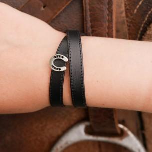 Horseshoe slider flat leather 5 mm.