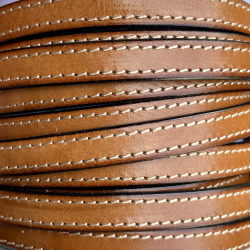 Camel flat stitches leather 10mm