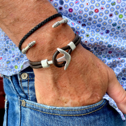 Curved marine anchor clasp and leather or paracord loop 4 mm x 2