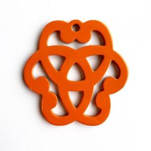 Buffalo horn pendant shape of rosette