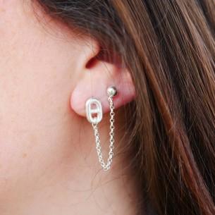 Boucle d'oreille marine et chaine