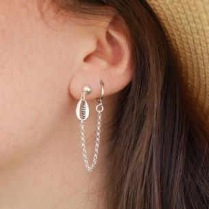 Boucle d'oreille double trou cauri