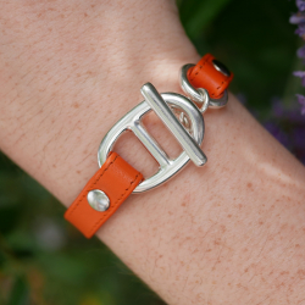 Bracelet maille marine cuir plat