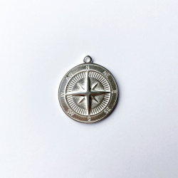 34 mm silver plated compass medal 10 microns/ 5 pcs