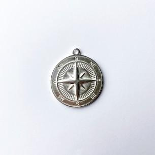 Médaille boussole 34 mm en plaqué argent 10 microns / 5 pcs