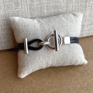 Bracelet cuir plat toggle